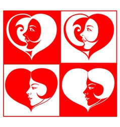 Beautiful Girl Face in Heart Shape vector image