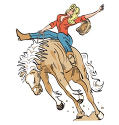 Cowgirl on a bronco vector