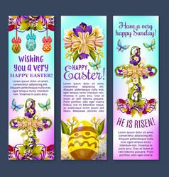 Easter greetings banner with egg cross flowers vector