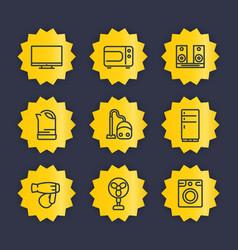 appliances line icons set vector image