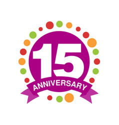 15 anniversary colored logo design happy holiday vector image vector image