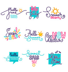 Hello summer june july doodle handdrawn vector