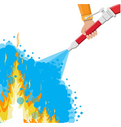 Water hose in hand to extinguish the fire vector