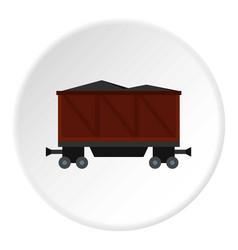 Railway wagon loaded with coal icon circle vector