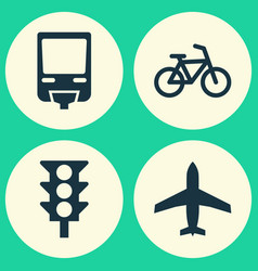 Transport icons set collection of aircraft vector