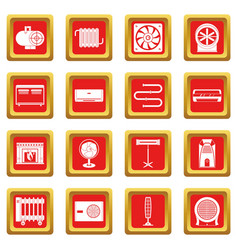 Heating cooling air icons set red vector