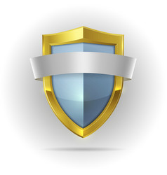 Guard shield with blank ribbon emblem vector