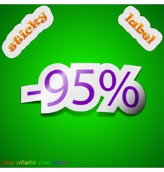 95 percent discount icon sign symbol chic colored vector