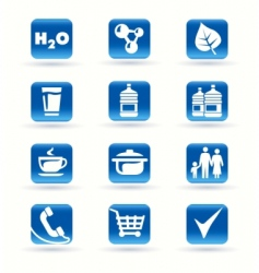 Icons kitchen shop food drink vector