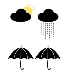 Sun and rain with clouds and umbrellas vector