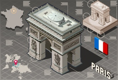 Isometric infographic arc de triomphe in paris - vector