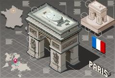 Isometric Infographic Arc de Triomphe in Paris - vector image