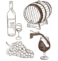Set of wine doodles vector image