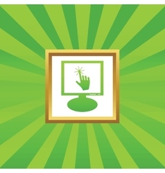 Hand cursor monitor picture icon vector