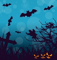 Halloween outdoor background with scary pumpkins vector