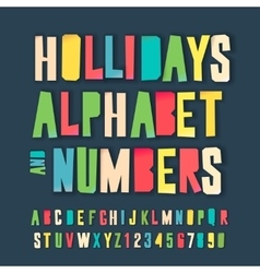 Holidays colorful alphabet and numbers vector