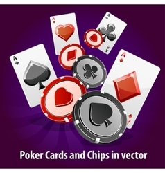 Poker cards and chips background vector