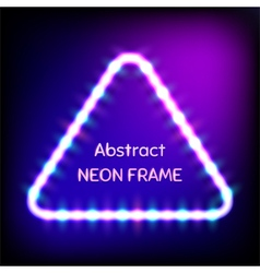 Glowing neon triangle frame with light bulbs vector