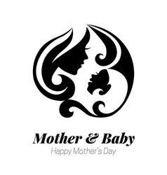 Mother silhouette with her baby card of vector
