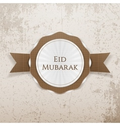 Eid mubarak realistic greeting badge vector