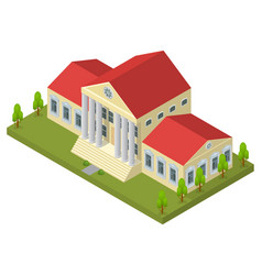 Bank building isometric view vector