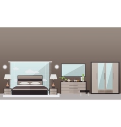 Bedroom interior in flat style vector image vector image