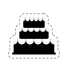 Cake bakery dessert celebration party pictogram vector