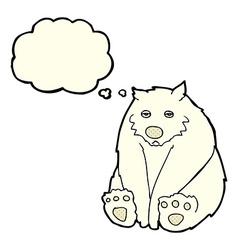 Cartoon unhappy polar bear with thought bubble vector