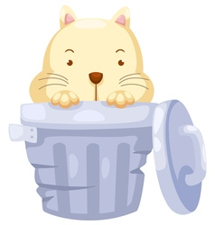 Cat in trashcan vector