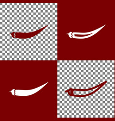 Chilli pepper sign bordo and white icons vector