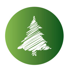 Christmas tree drawing white style vector