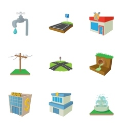 City public buildings icons set cartoon style vector