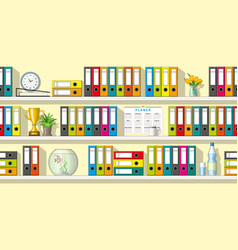 colorful folders and utensils on shelves seamless vector image vector image