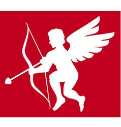 Cupid silhouette isolated on white vector image vector image