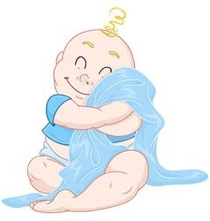 Cute baby boy hugs blue blanket vector