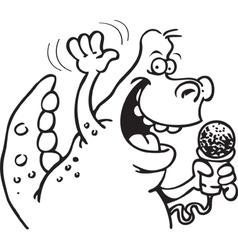 Dinosaur holding a microphone vector