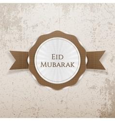 Eid mubarak realistic greeting badge vector
