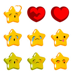 Emotional stare sick cry emoji faces set vector