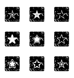 Figure star icons set grunge style vector
