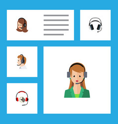 Flat icon telemarketing set of secretary vector