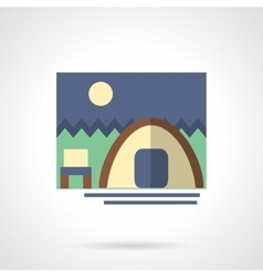Forest camping flat color design icon vector