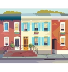 Front doors to the house sunny city street vector