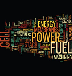 Fuel cell power the energy of the future text vector
