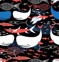 Graphic seamless pattern of bright fish vector