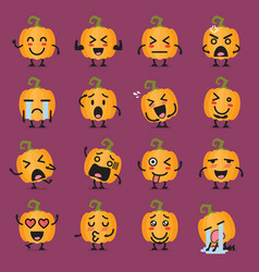 Halloween pumpkin emoji set vector