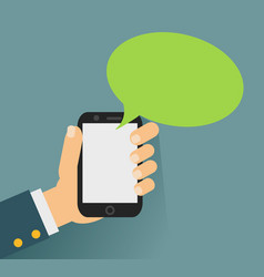 hand holing smartphone with blank speech bubble vector image