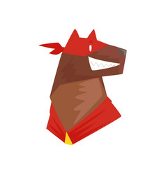 Head of superhero dog character in red mask vector