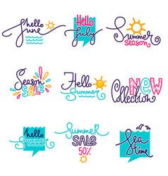 Hello summer june july doodle handdrawn vector