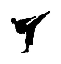 Karate black silhouette vector image vector image