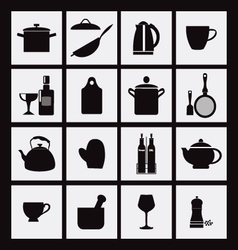 kitchen and restaurant black icon kitchenware vector image vector image